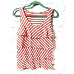 Tiered ruffle striped sleeveles blouse